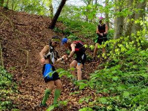 Steiler und rutschiger Abstieg beim Steigerwald-Orientierungslauf 2014